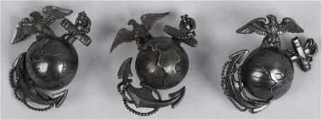 WWII US LOT OF 3 USMC OFFICER CAP BADGE EMBLEMS