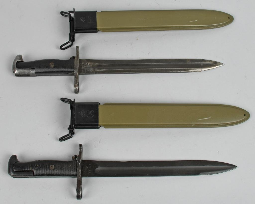 2 WWII US M1 GARAND BAYONETS IN NEW SCABBARDS