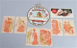 HAMBONE FAN PULL, COCA COLA BLOTTER, & CARDS