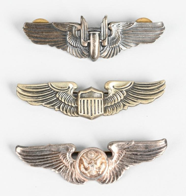 3 WWII US ARMY AIR CORPS PILOT & FLIGHT CREW WINGS
