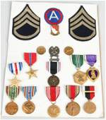 WWII US ARMY POW, SILVER STAR, PURPLE HEART MEDALS