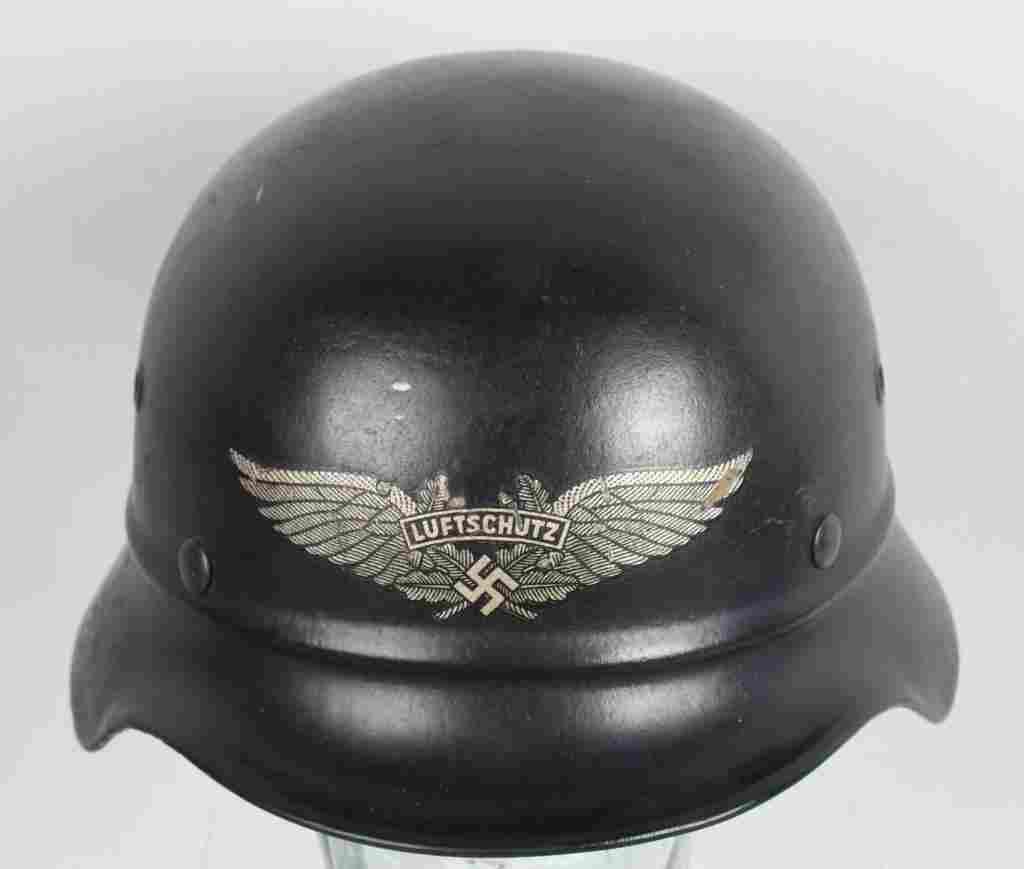 WWII NAZI GERMAN BEADED M40 LUFTSCHUTZ HELMET
