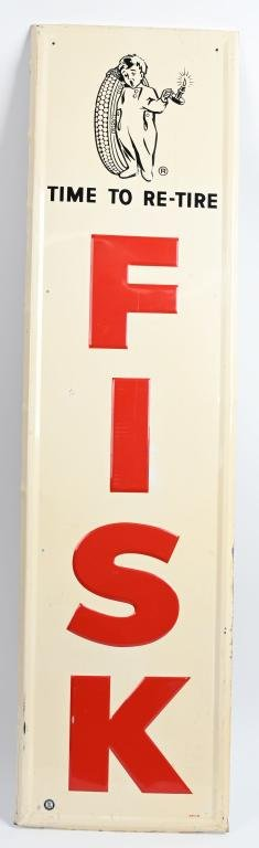 """Fisk """"Time to re-tire w/logo metal sign (TAC)"""