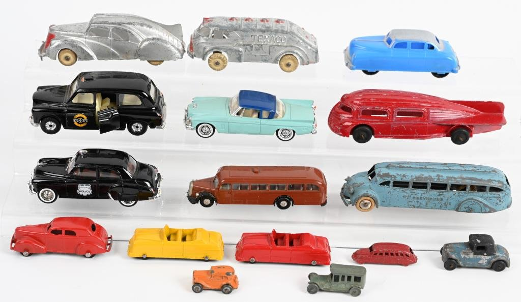 TOY AUTOMOTIVE LOT, HUBLEY, TOOTSIETOY & MORE