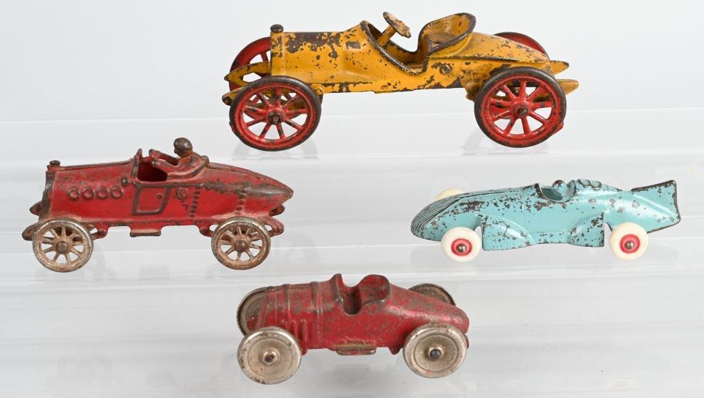 4- VINTAGE cast iron RACE CARS