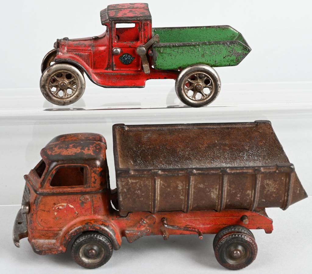 2- ARCADE 1920's-30's cast iron DUMP TRUCKS