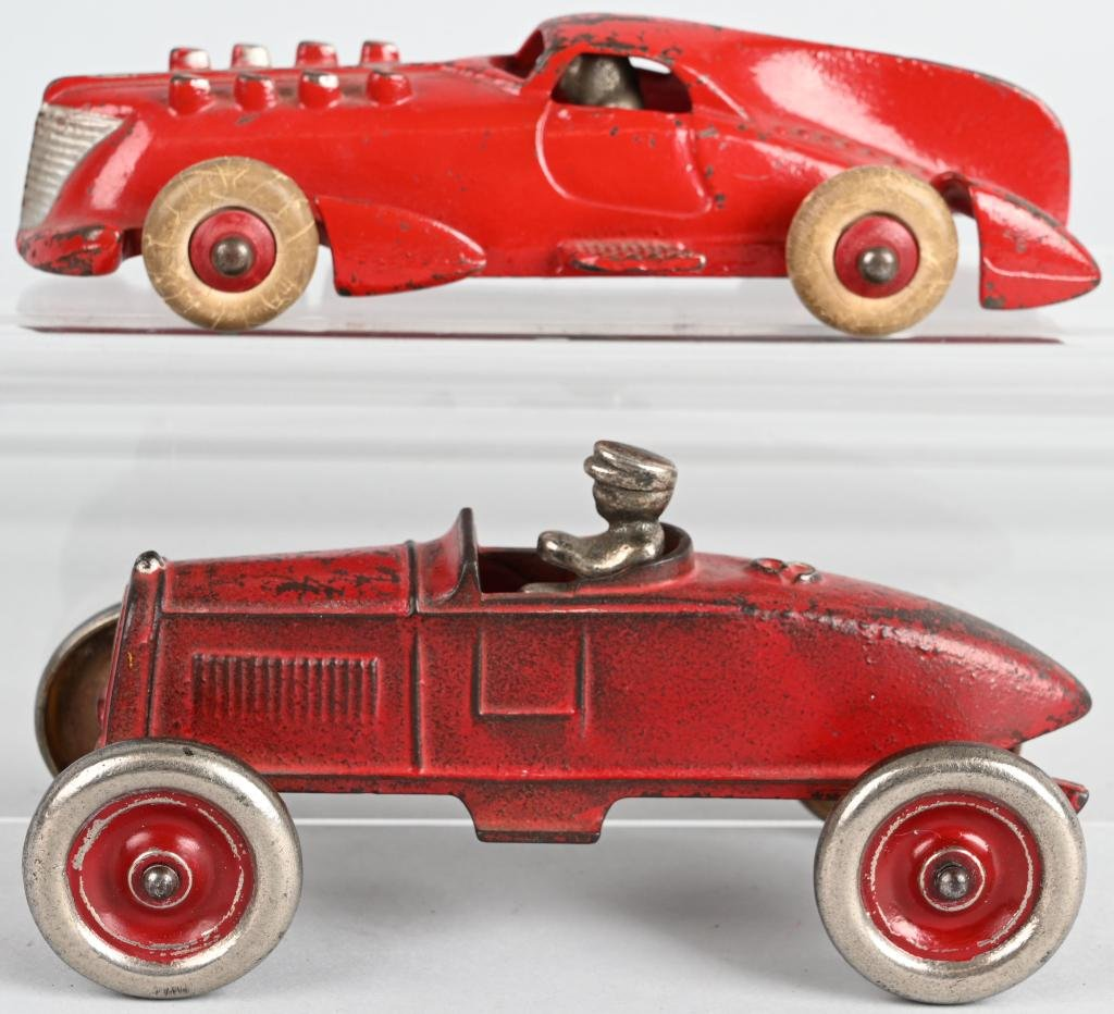 2- KENTON & HUBLEY cast iron RACE CARS