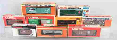 9 LIONEL ROLLING STOCK TRAIN CARS w BOXES
