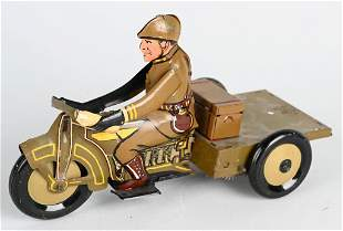 MARX PROTOTYPE TIN WINDUP MILITARY MOTORCYCLE