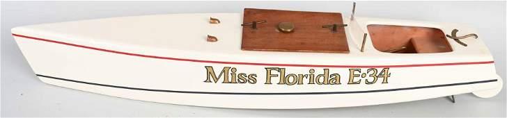 MISS FLORIDA E-34 WOOD CLOCKWORK RACE BOAT