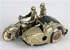 GERMAN Tin Windup MILITARY MOTORCYCLE w/ SIDECAR