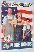 """WWII US WAR BOND POSTER """"BACK THE ATTACK"""" 5th LOAN"""