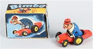 US ZONE GERMANY TIN WINDUP BIMBO CLOWN CAR w/ BOX
