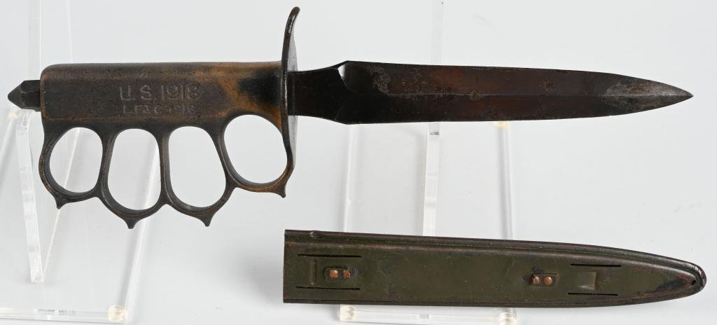 WWI US M1918 TRENCH KNIFE, LF&C W/ SCABBARD