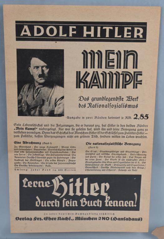 WWII NAZI GERMAN MEIN KAMPF ADVERTISEMENT POSTER