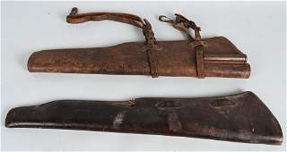 WWII US ARMY USMC LEATHER RIFLE SCABBARD LOT OF 2