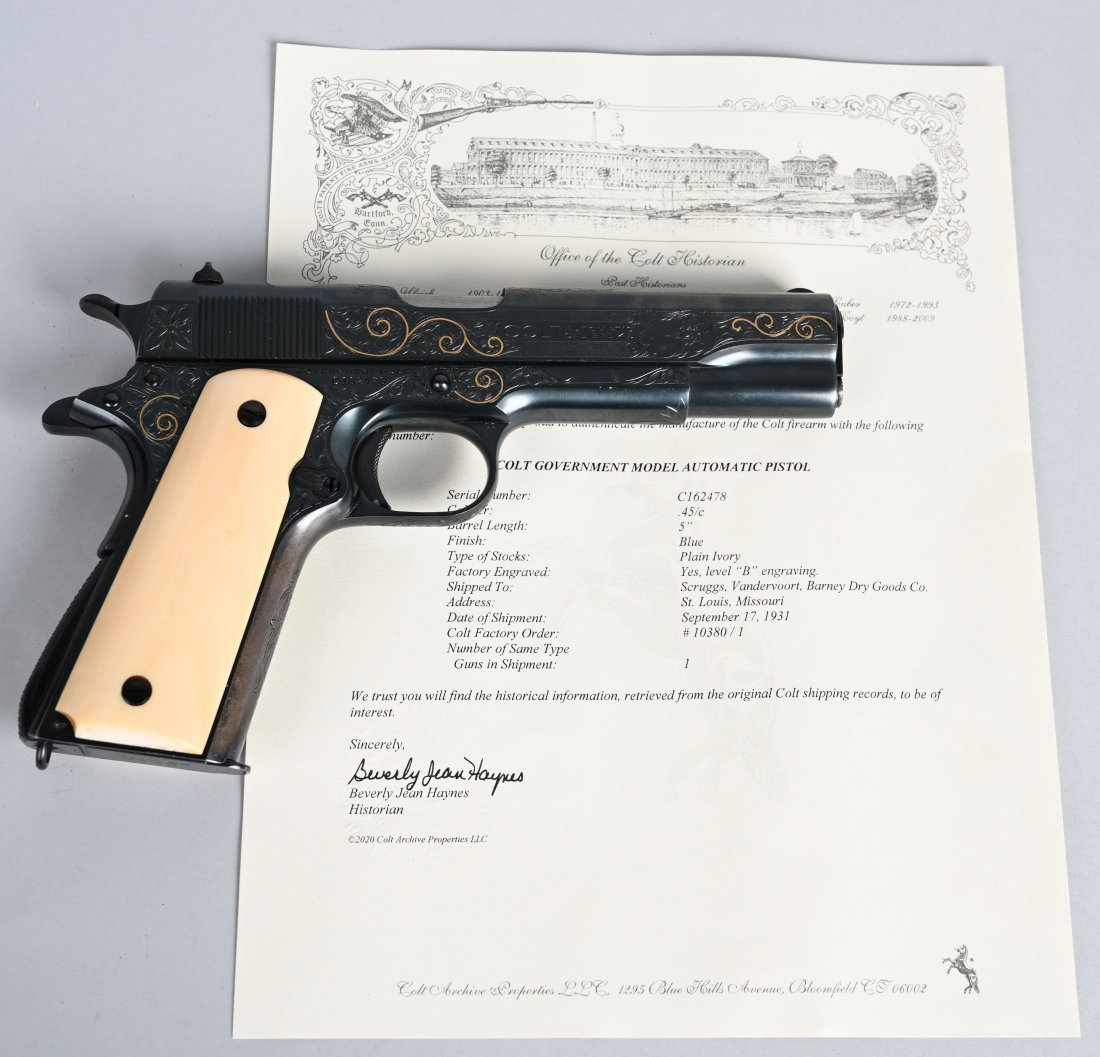 GOUGH FACTORY ENGRAVED GOLD INLAID COLT 1911