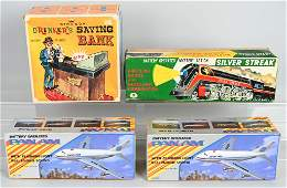4 VINTAGE Battery Op TOYS w BOXES