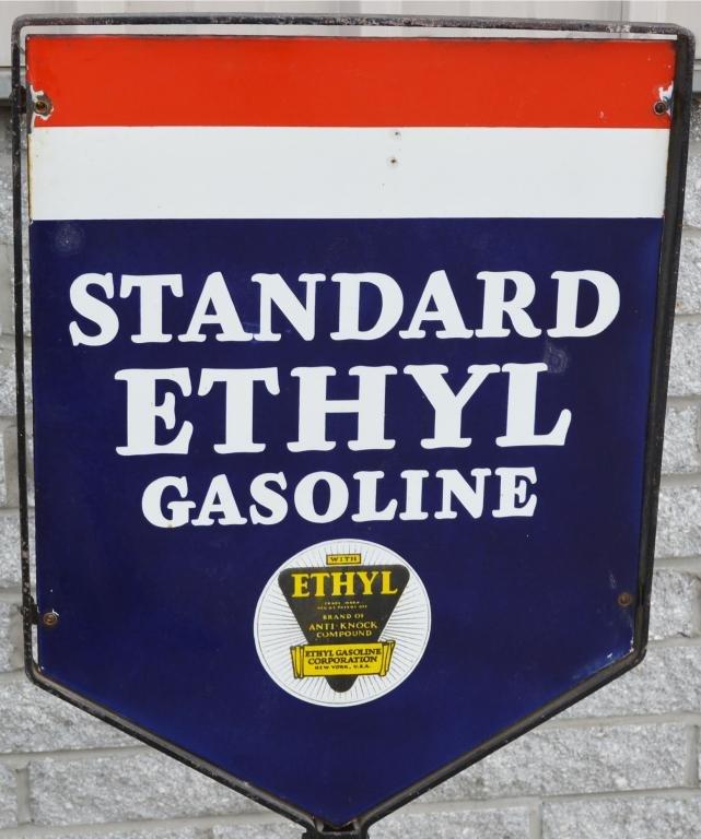 Standard Ethyl Gasoline w/logo Porcelain Sign