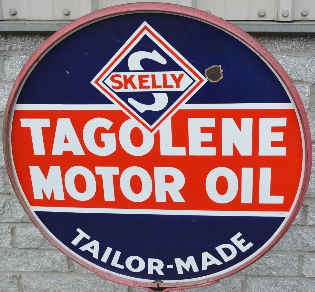 Skelly Tagolene Motor Oil w/logo Porcelain Sign