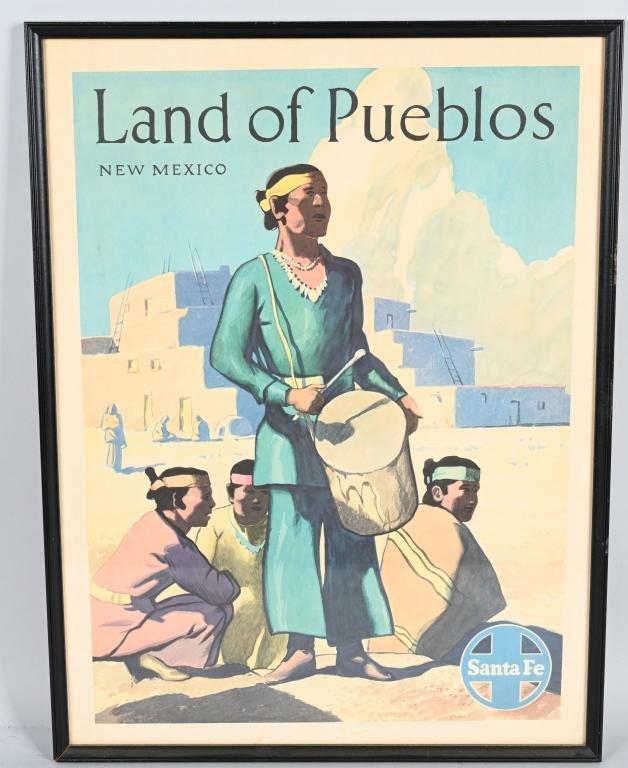 """Santa Fe Railroad """"Land of Pueblos"""" Poster"""