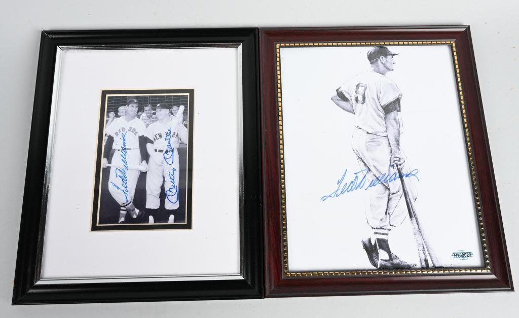 (2) AUTO. TED WILLIAMS & MICKEY MANTLE PICTURES