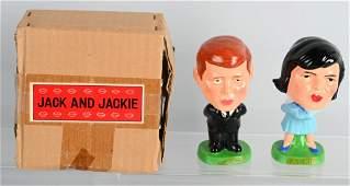 "RARE BOXED ""JACK & JACKIE "" KISSING BOBBING HEADS"