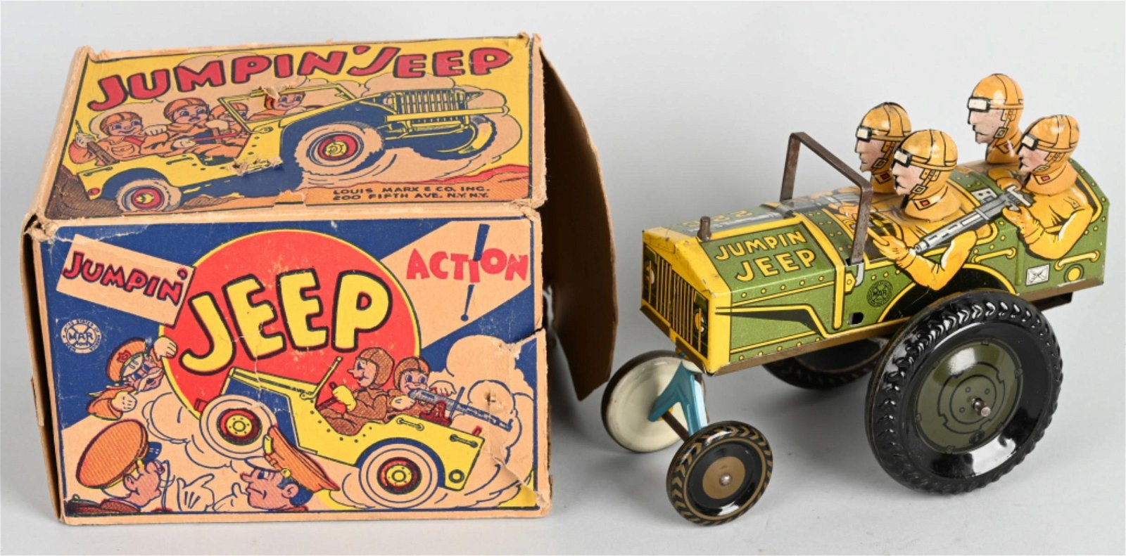MARX 1930's Tin Windup TOY JUMPIN JEEP w/ BOX