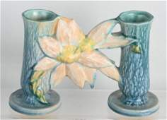 ROSEVILLE 194-5 CLEMATIS DOUBLE BUD VASE