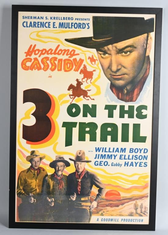 HOPALONG CASSIDY 3 ON THE TRAIL MOVIE POSTER