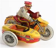 MARX Tin Windup SIREN MOTORCYCLE w/ SIDECAR