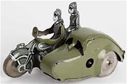 GERMAN TIN WINDUP MILITARY MOTORCYCLE & ARMOR SIDE