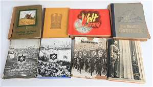 WWII NAZI GERMAN CIGARETTE CARD BOOK LOT OF 9 WW2