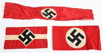 WWII NAZI GERMAN NSDAP HJ ARMBAND LOT OF 3 WW2