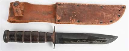 WWII US NAVY MKII FIGHTING KNIFE W/ SCABBARD WW2
