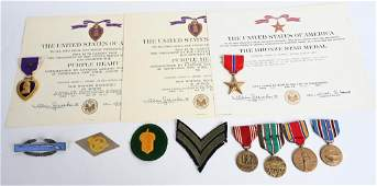 WWII NAMED MEDAL PURPLE HEART GROUPING W/ DOCS