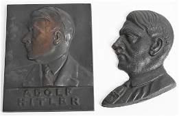 WWII NAZI GERMAN ADOLF HITLER IRON BUST LOT OF 2
