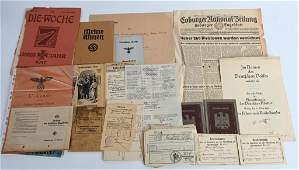 WWII NAZI GERMAN DOCUMENT LOT OF 37 WW2 NSDAP