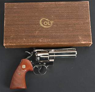 "BOXED NICKEL 4"" COLT PYTHON UNFIRED REVOLVER"