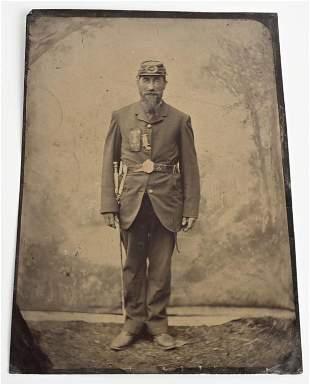 LARGE SIZE CIVIL WAR UNION SOLDIER TIN TYPE