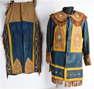 COLORFUL LEATHER 19TH CENTURY WILD WEST OUTFIT