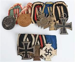 WW1 & WWII IMPERIAL GERMAN MEDAL BAR LOT OF 2 WW2