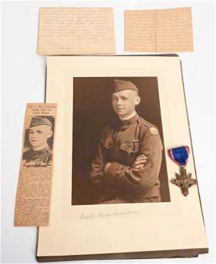 WW1 US ARMY DSC WINNER GROUPING W PHOTO LETTERS