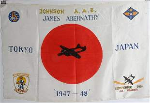 WWII JAPANESE FLAG SOVINEER OF 6th NIGHT FIGHTER
