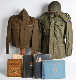 WWII NAMED NISEI UNIFORM GROUPING 442nd RCT HELMET