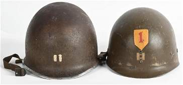 WWII US ARMY 1ST DIVISION PAINTED M1 COMBAT HELMET