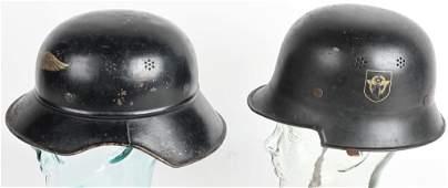 WWII NAZI GERMAN HELMET LOT POLICE  LUFTSCHUTZ