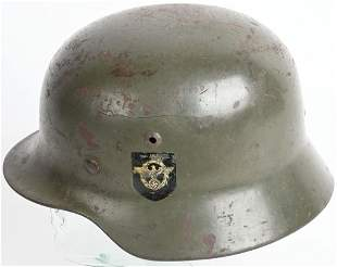 WWII NAZI GERMAN M35 DOUBLE DECAL POLIZEI HELMET
