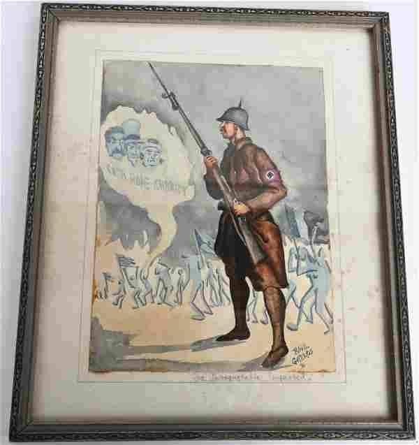 WWII ANTI NAZI GERMAN PATRIOTIC PAINTING WW2 KIA