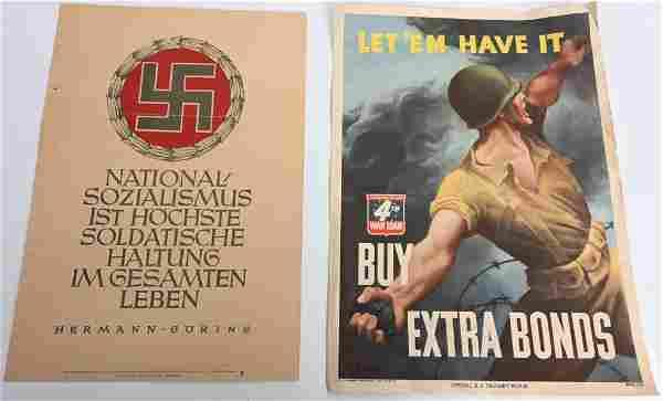 WWII US & NAZI GERMAN PROPAGANDA POSTER LOT WW2